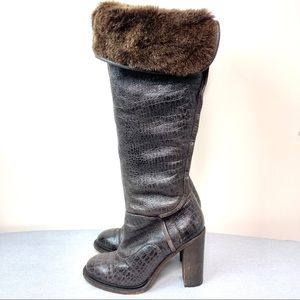 Ugg Collection Brown Heeled Fur Boots
